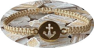 CUCUMB Handmade Anker Armband Gold - Beige Damen Größenverstellbar Inkl. Geschenkverpackung/Geschenkbox 'for you' Brown