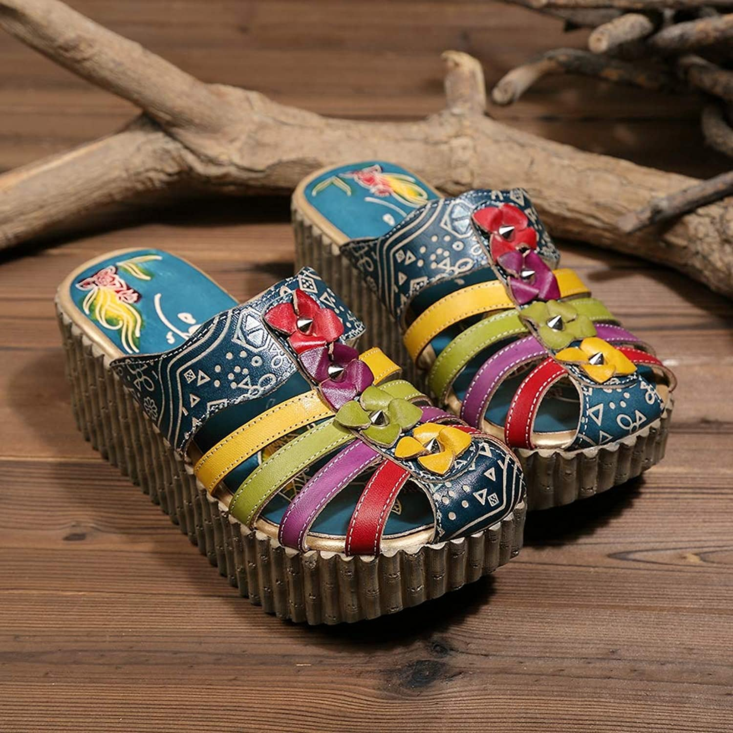 Leather Slipper, Women's Oxford Slipper Vintage Slip-Ons colorful Flower Backless Loafer Sandals,6MUS