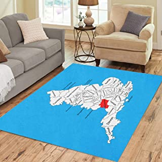 Semtomn Area Rug 5' X 7' Map of Gloucestershire in South West England United Kingdom Home Decor Collection Floor Rugs Carpet for Living Room Bedroom Dining Room