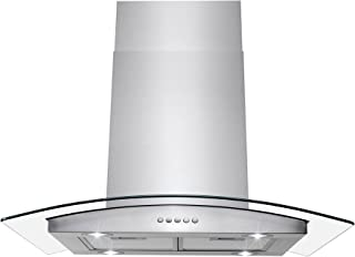 "AKDY Island Mount Range Hood –36"" Stainless-Steel Hood Fan for Kitchen – 3-Speed Professional Quiet Motor – Premium Push Control Panel – Minimalist Design – Mesh Filter & LED Lamp – Tempered Glass"