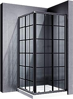 ELEGANT Black Corner Sliding Shower Enclosure 36 in. D x 36 in. W x 72 in. H Glass Shower Door, 2 Stationary Clear Glass S...
