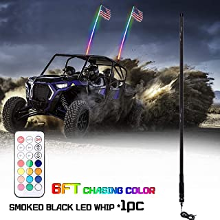 Beatto 6FT(1.8M) Smoked Black RF Remote Controll RGB LED Whips Light With Dacning/Chasing Light LED Antenna Light For Off- Road Vehicle ATV UTV RZR Jeep Trucks Dunes
