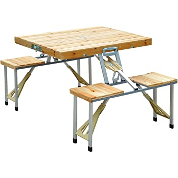 Outsunny Portable Foldable Camping Picnic Table with Seats Chairs and Umbrella Hole, 4-Person Fold Up Travel Picnic Table, Wood