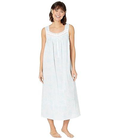 Eileen West Cotton Woven Lawn Sleeveless Ballet Nightgown (White Ground/Aqua Floral) Women
