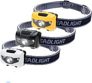 HappyOrange 3-Pack Waterproof LED Headlamp (White and Red Lights), 4 Light Modes Lightweight Headlight for Running, Hiking, Hunting, Fishing, Camping (3 Pack)