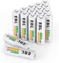 EBL 2800mAh AA Pilas Recargables Ni-MH para los Equipos Domésticos con Estuches de Almacenamiento (16 Piezas)