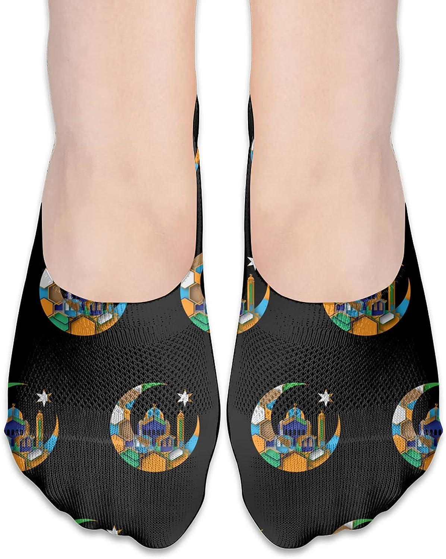 Vector Islamic Decoration Eid Al No Show Socks Adult Short Socks Athletic Casual Crew Socks