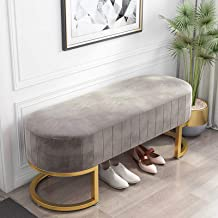 Shoe Storage Bench with Seat Cushion, Metal Shoe Rack Shoe Storage Organizer, for Entryway, Living Room, Hallway, Accent F...