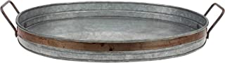 Stonebriar Galvanized Metal Serving Tray with Rust Trim and Metal Handles, Unique Butler..