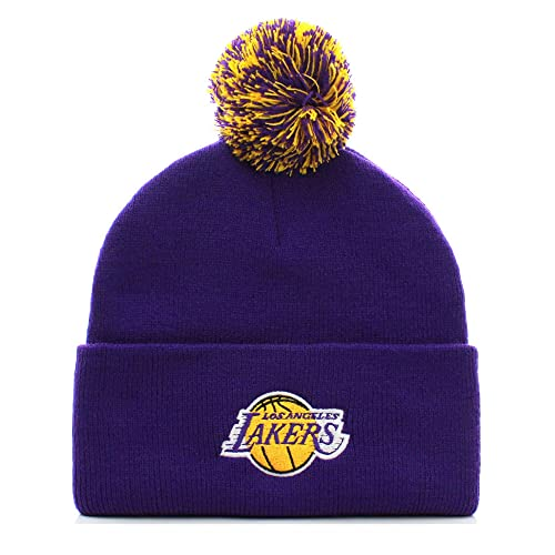 e188dd53e23 NBA Los Angeles Lakers Basketball Pom Pom Beanie Knit Hat Cap (Adult One  Size