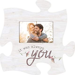 P. Graham Dunn It was Always You Floral White 12 x 12 Wood Puzzle Piece Wall Photo Frame