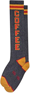 COFFEE Socks by Gumball Poodle: Creative, Unisex Statement Knee Sock: Gray, Red & Yellow