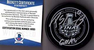"""Beckett-BAS Patrick Sharp """"GOAL"""" 2015 Stanley Cup Real Game 5 Puck Autographed Signed Chicago Blackhawks"""