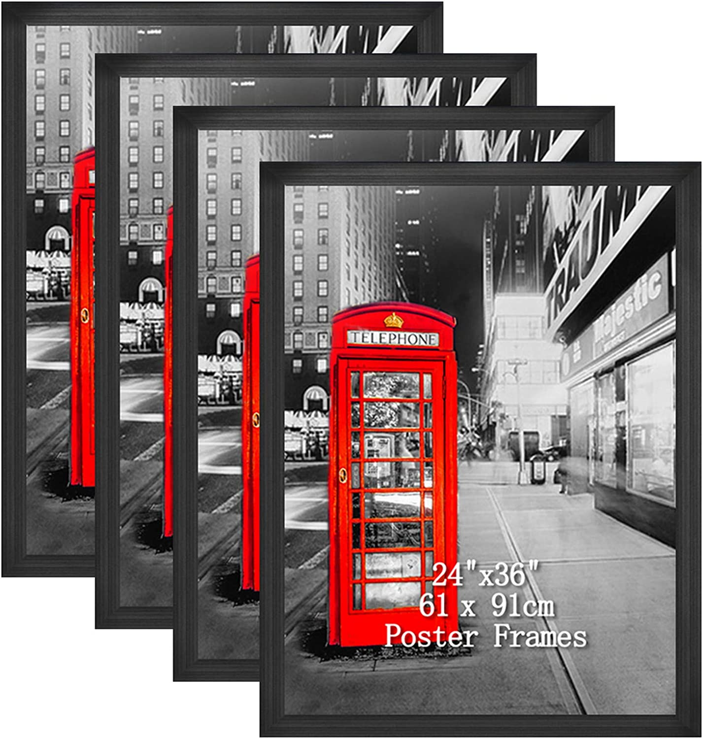 Amazing Roo 24x36 Black Poster Picture Frames Set Made To Display 24 By 36 Inch Photo Picture Frame For Wall Decor 4 Pack Amazon Co Uk Kitchen Home