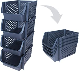 Skywin Plastic Stackable Storage Bins for Pantry - 4-Pack Black Stackable Bins for Organizing Food, Kitchen, and Bathroom Essentials