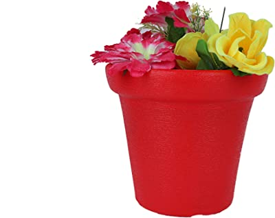 HomeEra Plastic Round Flower Planter for Home Decor (Red)