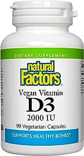 Natural Factors, Vegan Vitamin D3 50 mcg (2000 IU), Supports Bone and Immune Health, 90 Capsules