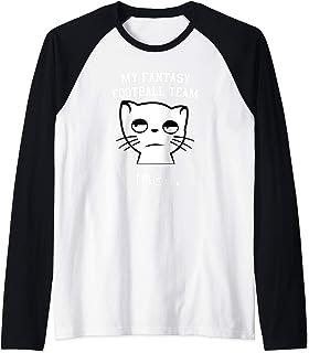 Funny Fantasy Football Cat Meh Draft Party League Gift Raglan Baseball Tee