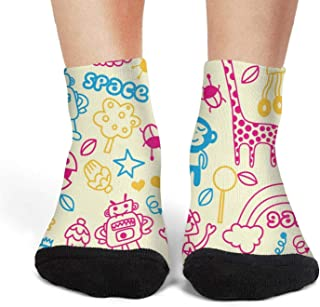 Floowyerion Mens rainbow print giraffe skin Novelty Sports Socks Crazy Funny Crew Tube Socks