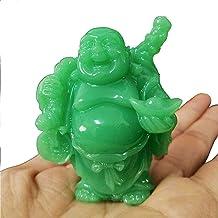 1pcs Glowing Laughing Buddha Statue, Chinese Feng Shui Money Maitreya Buddha Sculpture Ornaments, Man-Made Jade Stone Figu...