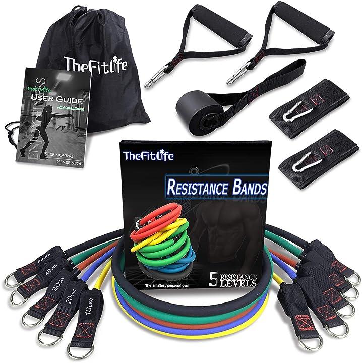 Elastici per allenamento  thefitlife set di fasce per esercizi e resistenza TFL-ResBands-FBA-001