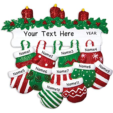 Hobby Home Accessories Personalized Red Green Mitten Family Christmas Tree Ornament Free Personalized (Family of 11)