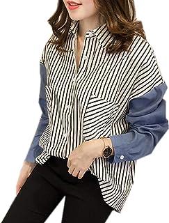 ININUK シャツ レディース ブラウス トップス 上着 ゆったり ストライプ 快適 涼しい 体型カバー 長袖 オフィス ワイシャツ ビジネス シャツ 可愛い 通勤 ゆったり 着痩せ 夏 カジュアル ファション