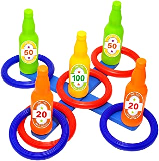 Carnival Ring Toss Game Set, Outdoor Games for Kids and Adults, Carnival Birthday Party Supplies, Tossing Game Kit for Yar...