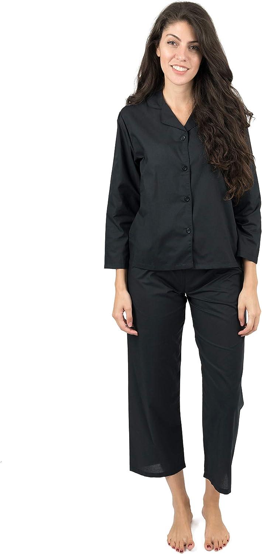 Leveret Womens Pajamas Poly Cotton 2 Piece Christmas Pajama Set Black Size Medium
