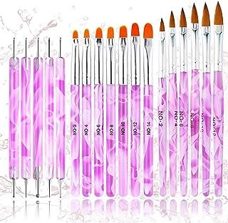 18PCS Acrylic Nail Brush Set Nail Art Brushes for Acrylic Application UV Gel Nail Brush Dotting Pen 3D Nails Brush for Acrylic Powder Nail Extension Acrylic Nail Kit Set Professional - BONGEAR