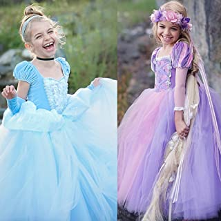 Alician Girl Delicate Lace Long Dress Elegant Lovely Fluffy Princess Dress for Halloween Show
