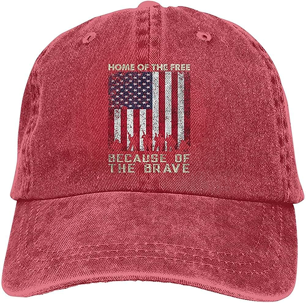 Classic Gorgeous Home of The Free Because of The Brave Hat Cotton Adjustable Retro Cowboy Hat Unisex Baseball Cap Trucker Hat Black