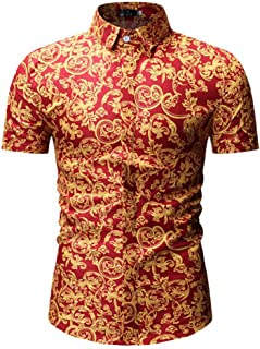 Qiyun Autumn Shirt Men Hawaii Shirt Summer Floral Vine Printing Lapel Short Sleeve Male Casual Shirt