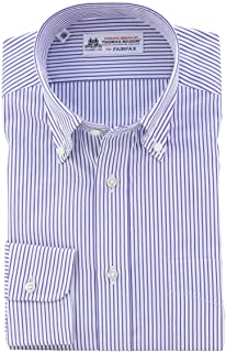 (フェアファクス) FAIRFAX 白地 ブルー ストライプ ボタンダウン 綿100% 英国 トーマス・メイソン生地使用 (細身) ドレスシャツ b1811
