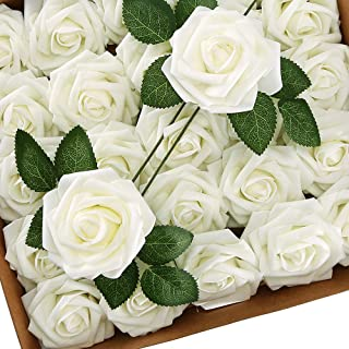 Higfra Artificial Flowers Cream Roses Real Looking Fake Roses w/Stem for DIY Wedding Bouquets Centerpieces Arrangements Party Baby Shower Home Decorations - Cream