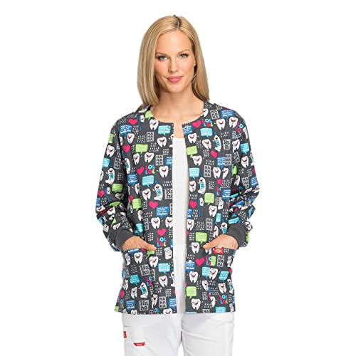 eac45c6fa14 Dickies EDS Signature Women's Snap Front Dental Print Scrub Jacket