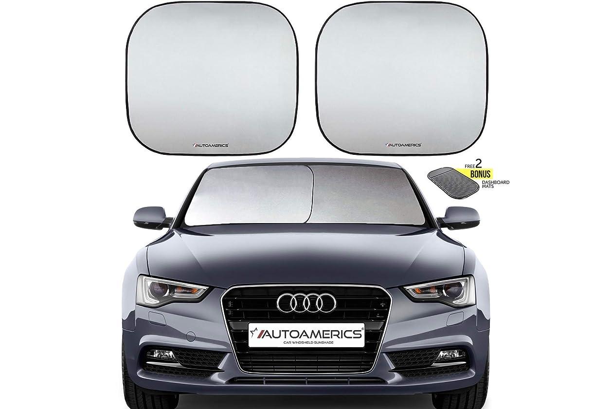 Autoamerics Windshield Sun Shade 2-Piece Foldable Car Front Window Sunshade  for Most Sedans SUV Truck - Auto Sun Blocker Visor Protector Blocks Max UV  Rays ... 8215bd17a23