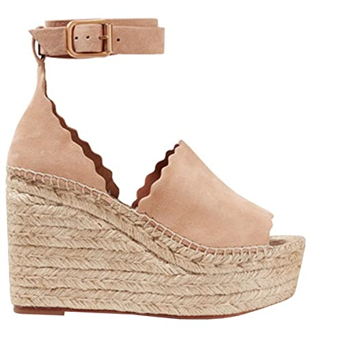 14965af2022 Enjoybuy Womens Platform Espadrille Wedges Peep Toe High Heel Sandals With Ankle  Strap Buckle Up