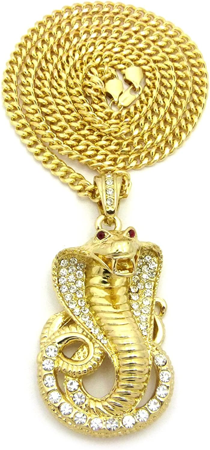 NEW ICED OUT COBRA SNAKE PENDANT & 36