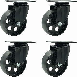 """FactorDuty 4 All Black Metal Swivel Plate Caster Wheels Heavy Duty High-Gauge Steel (3.5"""" No Brake)"""