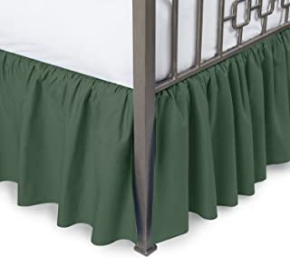 Ruffled Bed Skirt with Split Corners - Olympic Queen, Hunter, 21 Inch Drop Bedskirt (Available in and 16 Colors) Dust Ruffle.