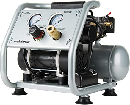 Metabo HPT Air Compressor, Ultra-Quiet 59 dB, Portable, Oil-Free Pump, 1-Gallon Tank Capacity, Steel Roll Cage w/ Rubber Grip, Compact and Lightweight, 1-Year Warranty, (EC28M): image