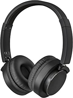 MoKo Hi-Fi Stereo Headphones On-Ear, Wired Earphones with Music Shared Port and Boom Microphone Lightweight Foldable Headset for Tablet Laptop PC Computer Game PSP PS4 Xbox Smartphones (Black)