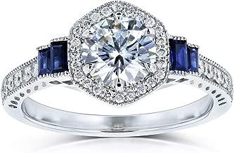 Kobelli Moissanite Sapphire and Diamond 6-prong Halo Art Deco Ring 1 1/2 CTW 14k White Gold (HI/VS, Blue, GH/I)
