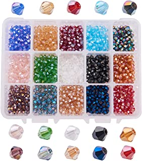 PandaHall Elite About 1500 Pcs 4mm Faceted Bicone Rondelle Glass Beads Briolette Crystal Czech Spacer Beads 15 AB Colors for Jewelry Making