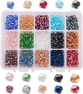 PandaHall Elite - Environ 1560 Pcs 15 Couleurs Perles de Verre à Facettes 4mm Perle Bicone Plaqué de Couleur AB, Trou: 1mm