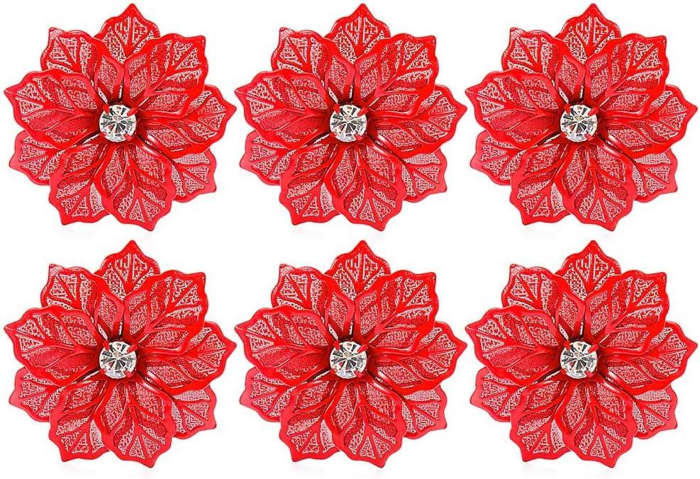 f/ête No/ël h/ôtel Rond de serviette creux en forme de fleur de cristal pour cuisine 1 pi/èce, orange d/écoration de table