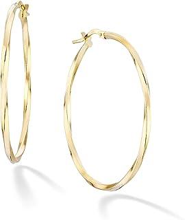 Miabella 18k Gold Over Sterling Silver Italian 2mm Round High Polished Twist Hoop Earrings for Women Teen Girls 30, 40, 50, 60 mm Lightweight Earrings 925 Made in Italy