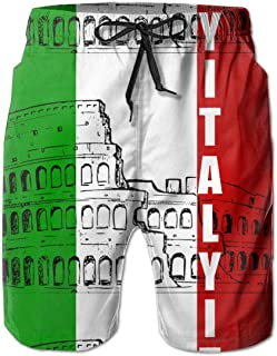 Roman Colosseum Italian Flag 3D Print Men's Beach Shorts Swim Trunks Workout Shorts Summer Shorts