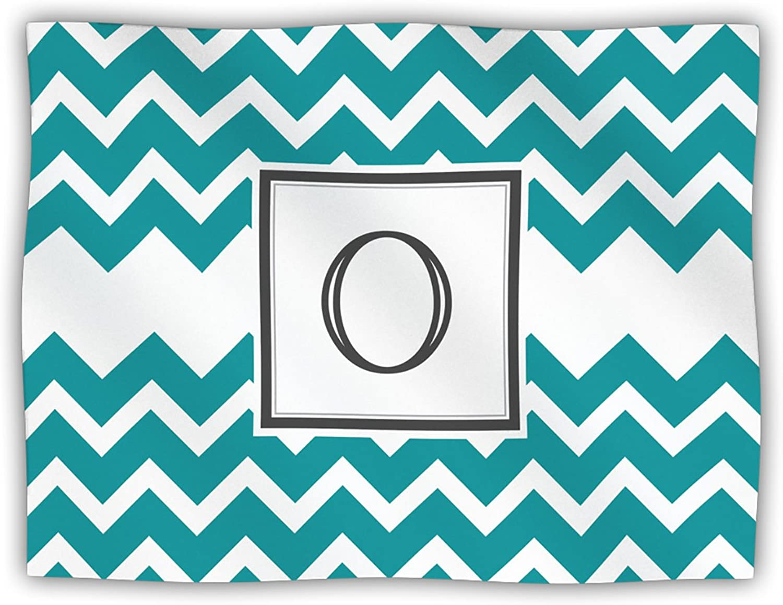 Kess InHouse KESS Original 'Monogram Chevron Teal Letter O' Dog Blanket, 40 by 30Inch
